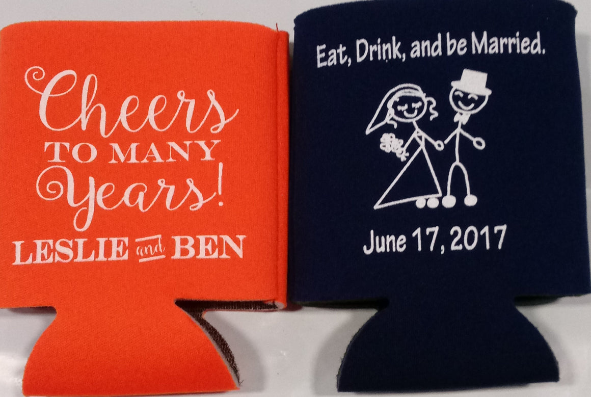 cheers to many years Wedding koozie eat drink and be married
