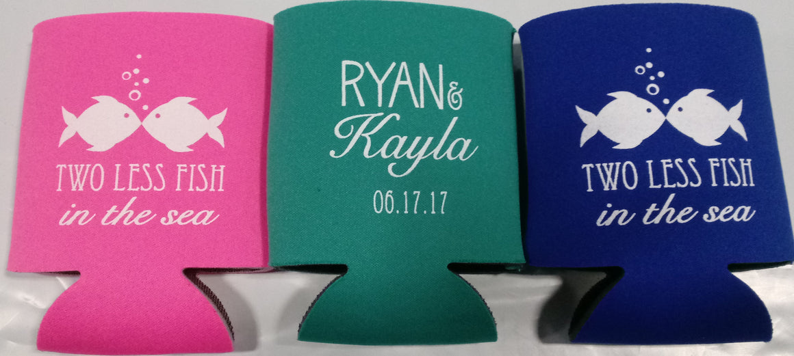 Two less fish in the sea Wedding Koozies party favors