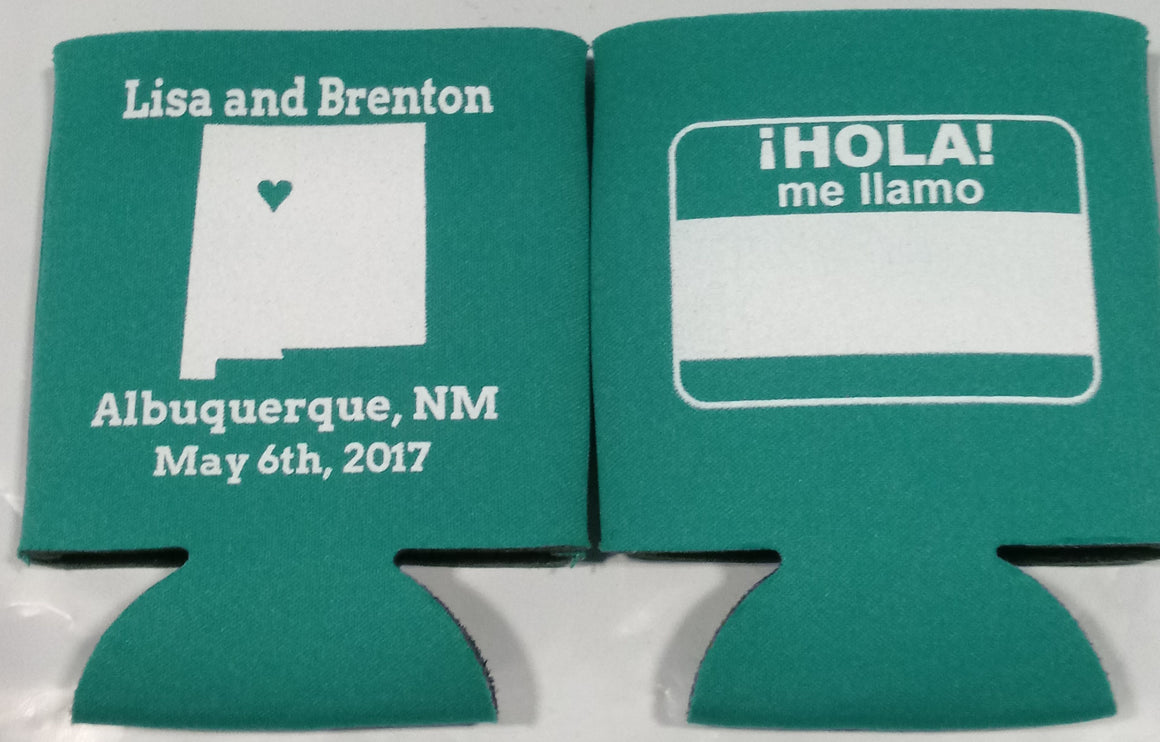 New Mexico wedding koozies HOLA Can Coolers