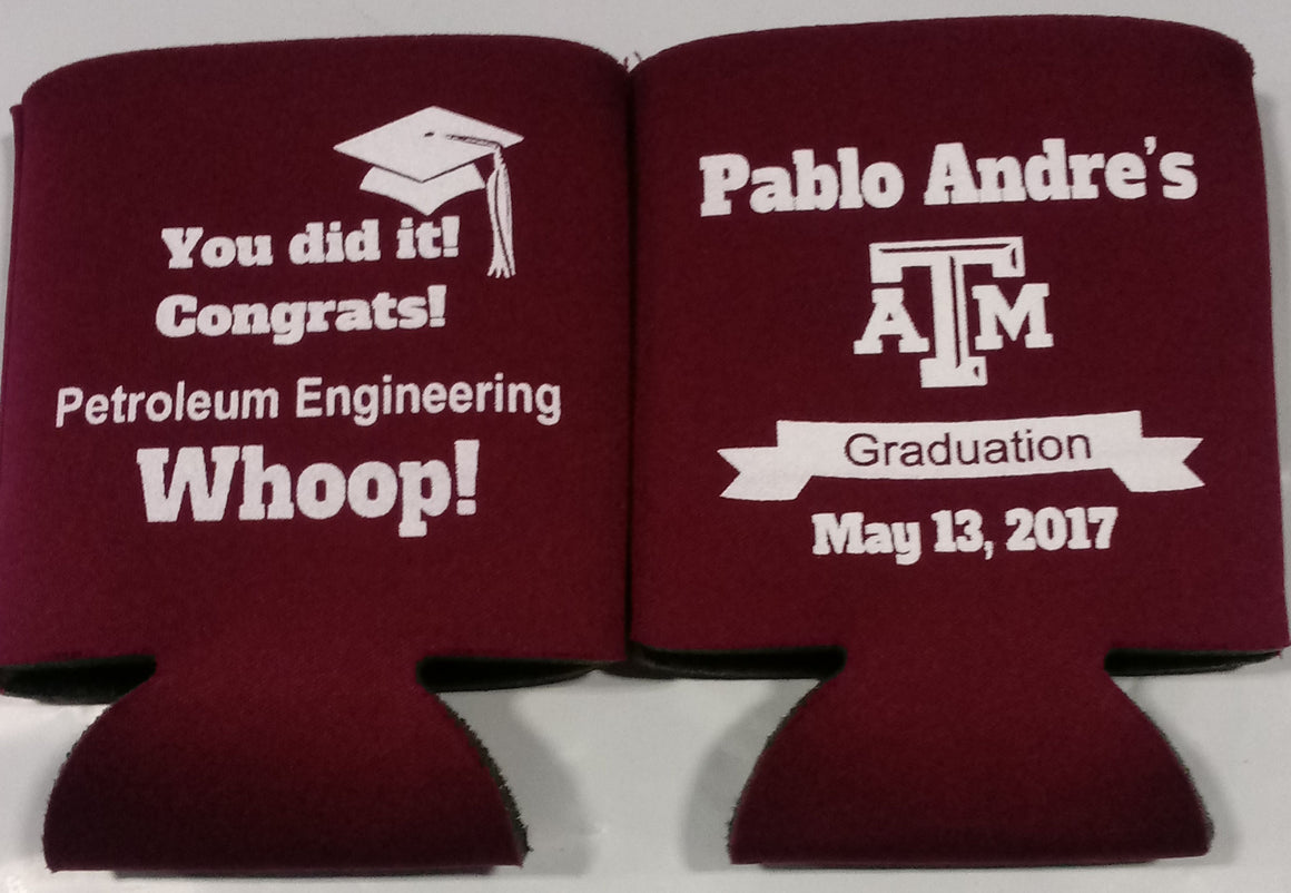 Texas A & M graduation koozie party favors can coolers personalized