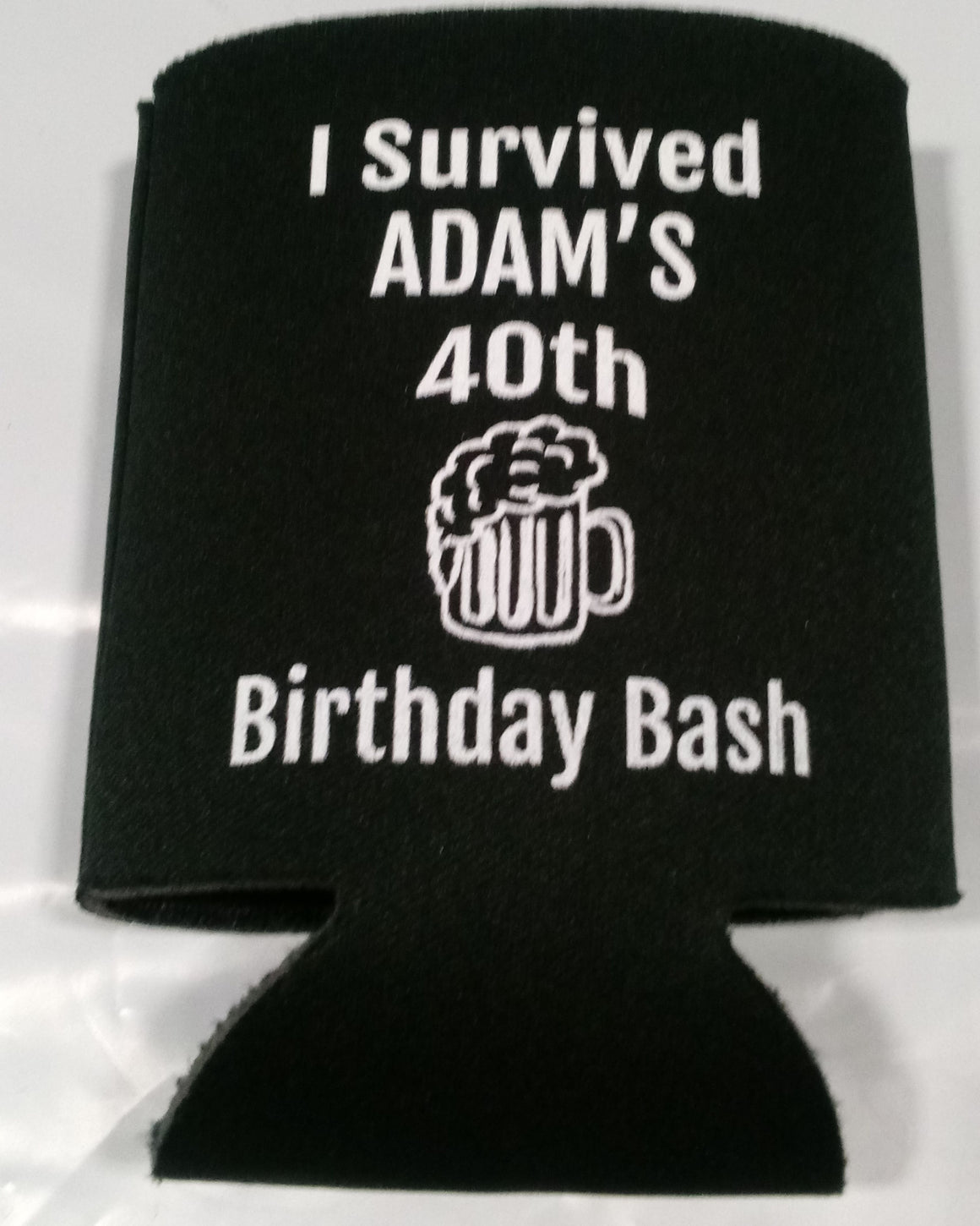 i survived 40th Birthday bash koozies favors can coolers