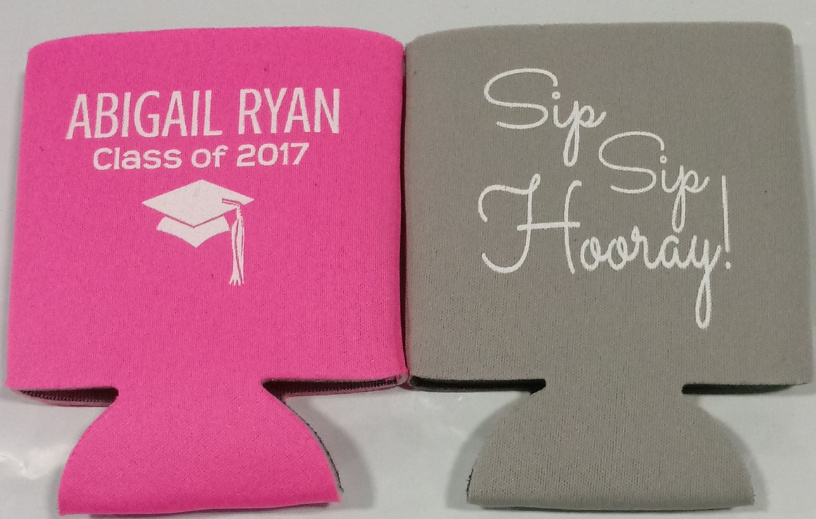 Custom graduation party favors can coolers personalized
