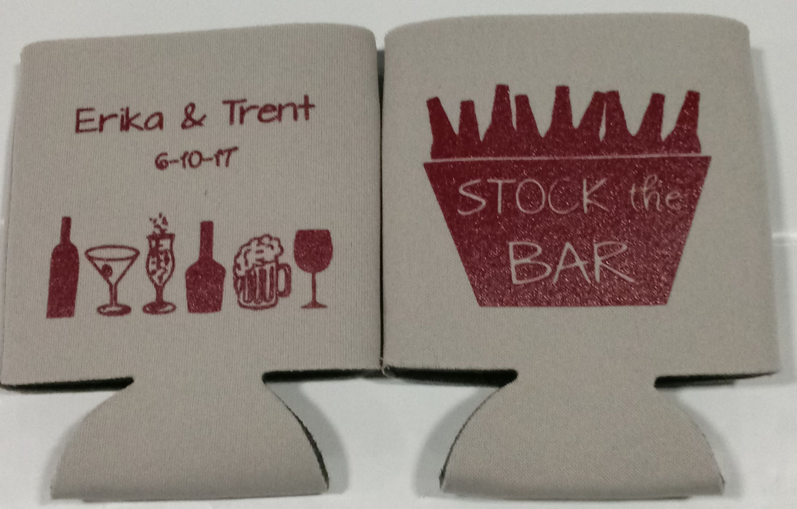 Stock the Bar Wedding koozies party favors Can Coolers