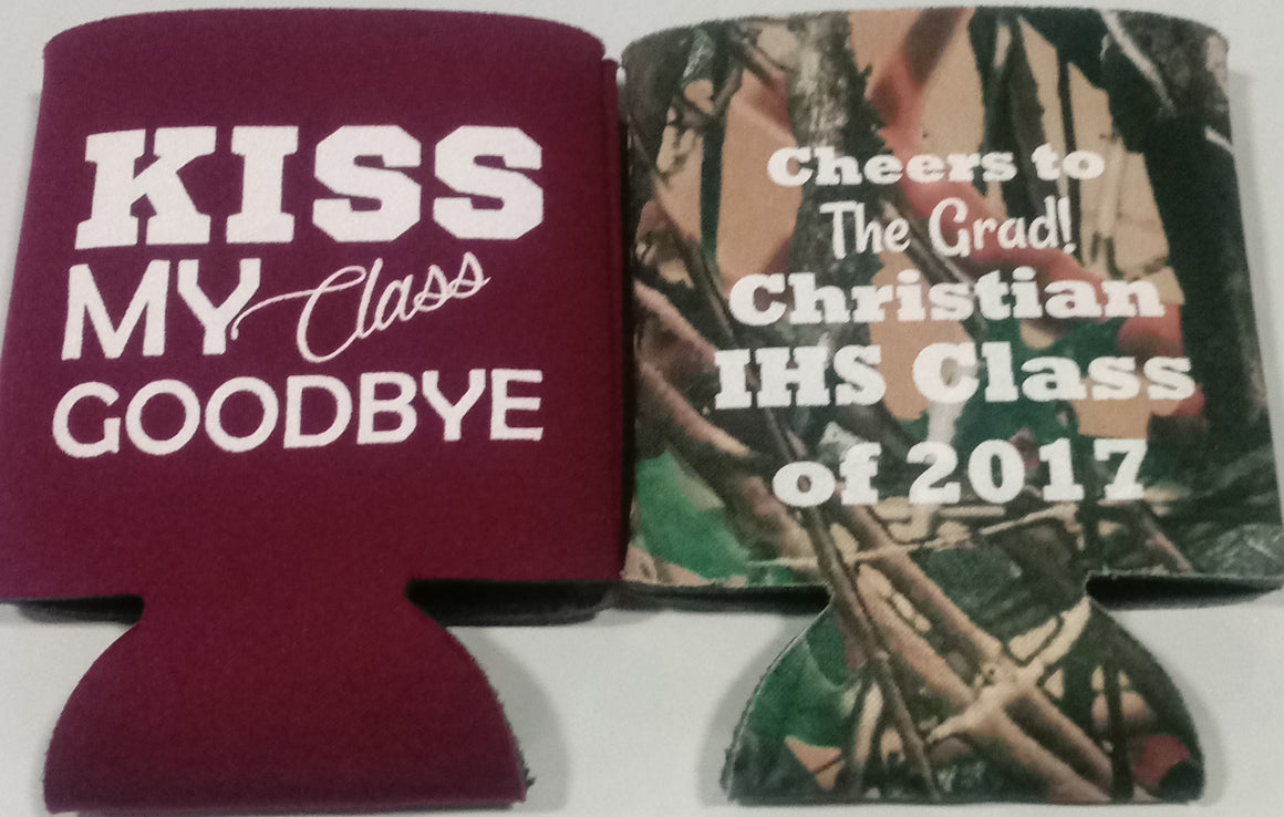 Kiss my class goodbye graduation party koozie favors can coolers personalized