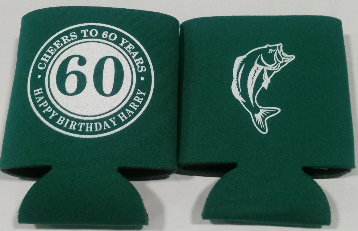 Large Mouth Bass 60th Birthday Koozie cheers to 60 years