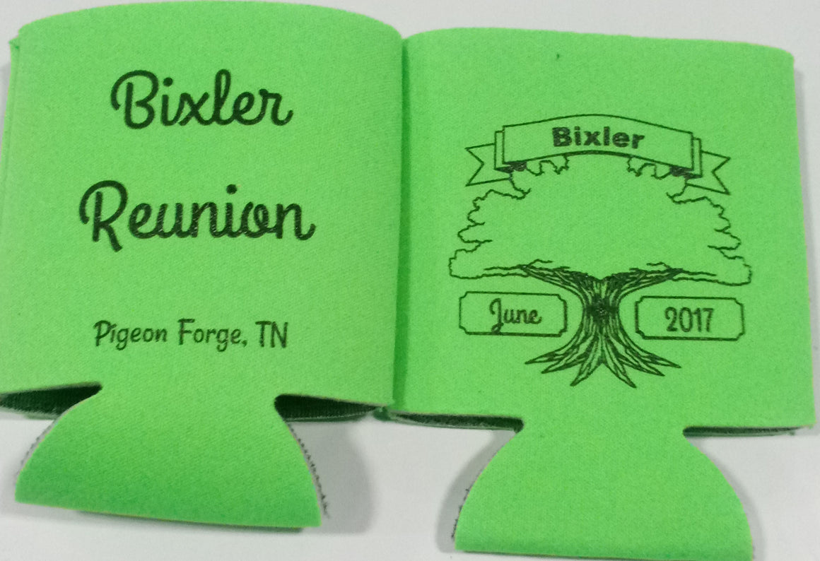 Family reunion koozies tree party favors can coolers