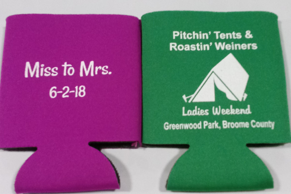 Camping bachelorette Koozie pitchin' tents roastin' weiners