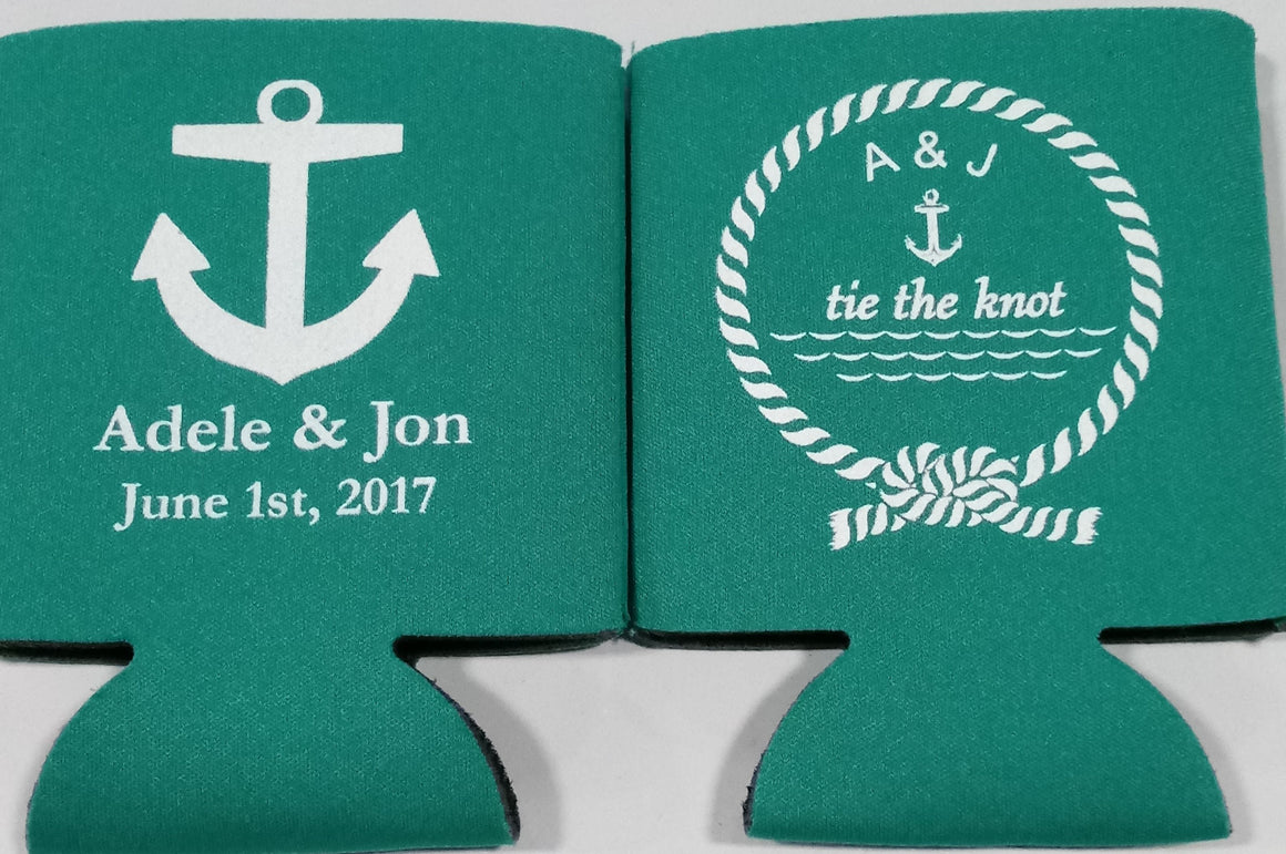 Nautical Wedding Koozie tie the know personalized can coolers