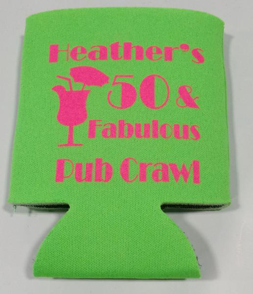 50th Birthday Pub Crawl koozies party favors can coolers
