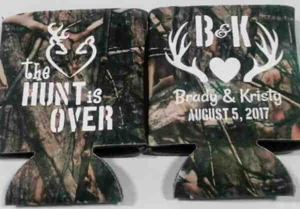 The Hunt is over Camo Wedding koozies hunters wedding Can Coolers