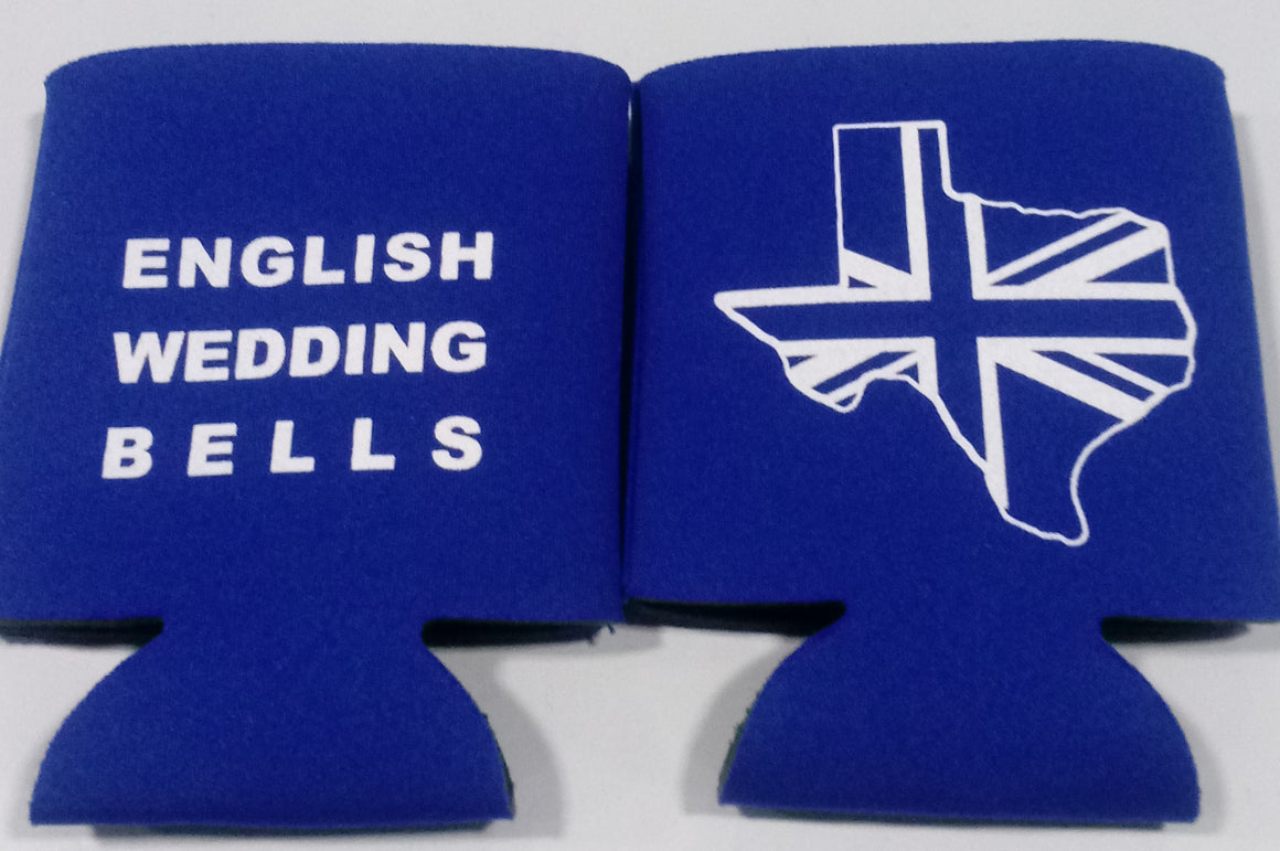 English Wedding Bells Koozies personalized can coolers