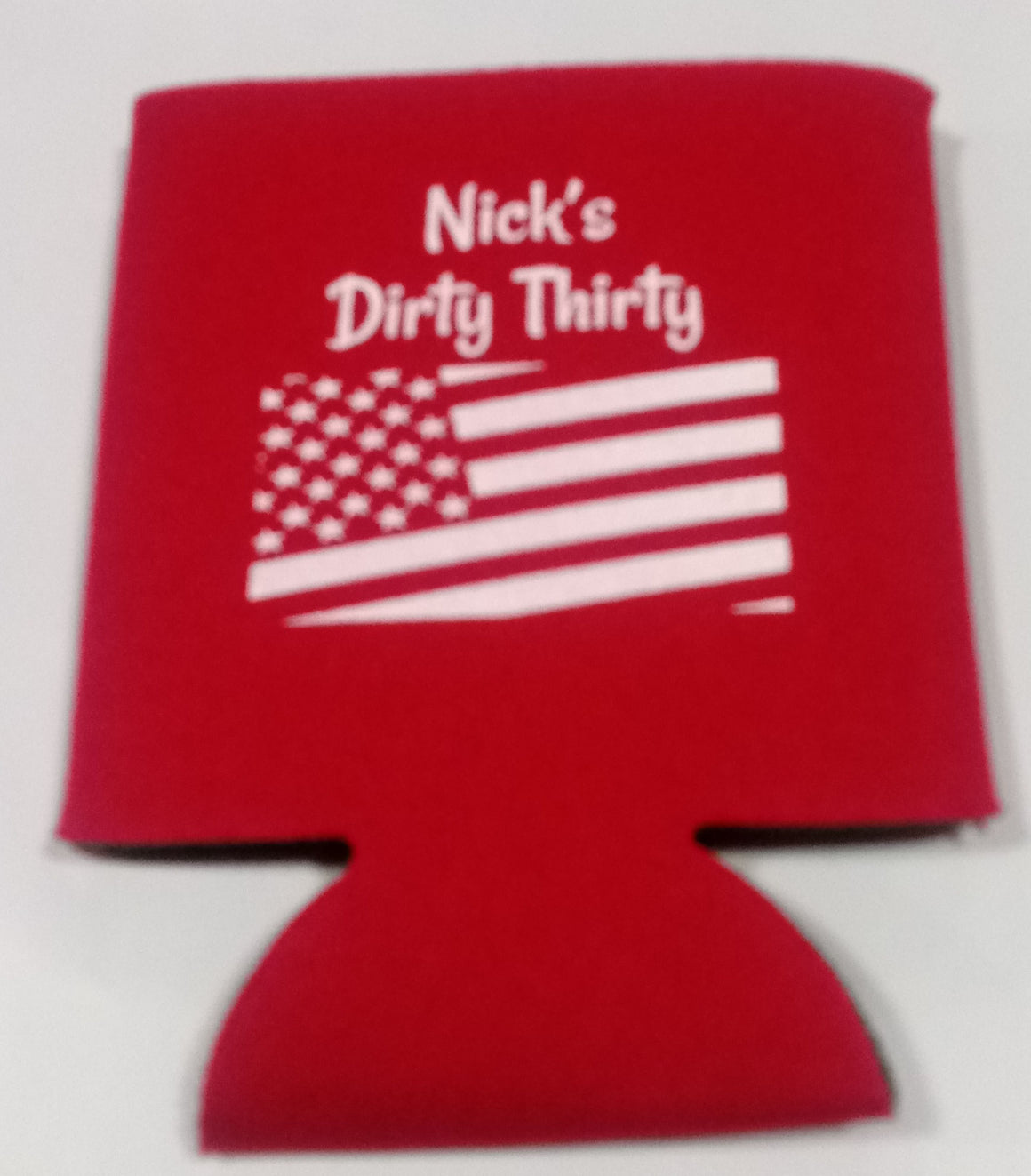 Dirty Thirty American Flag Koozie personalized can coolers