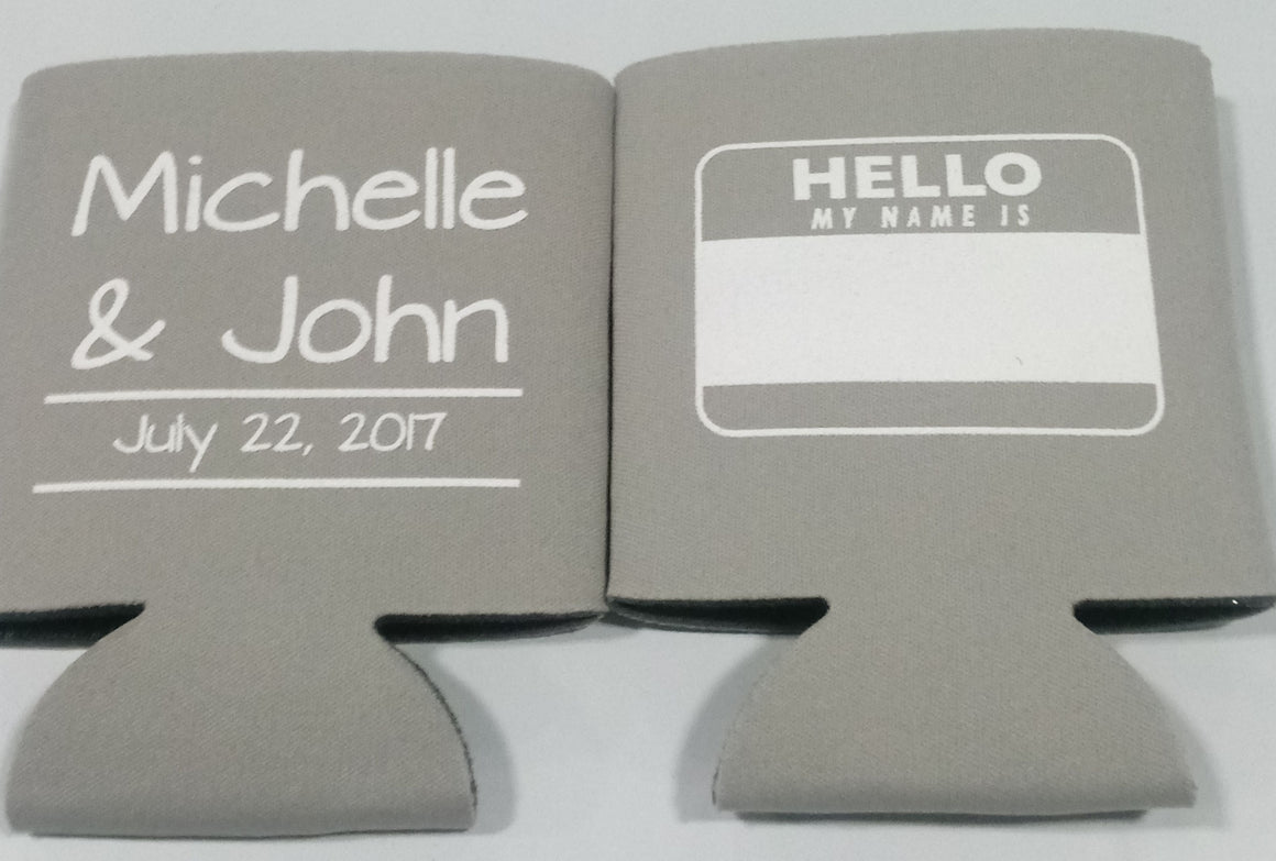 hello my name is wedding Koozies Can Coolers