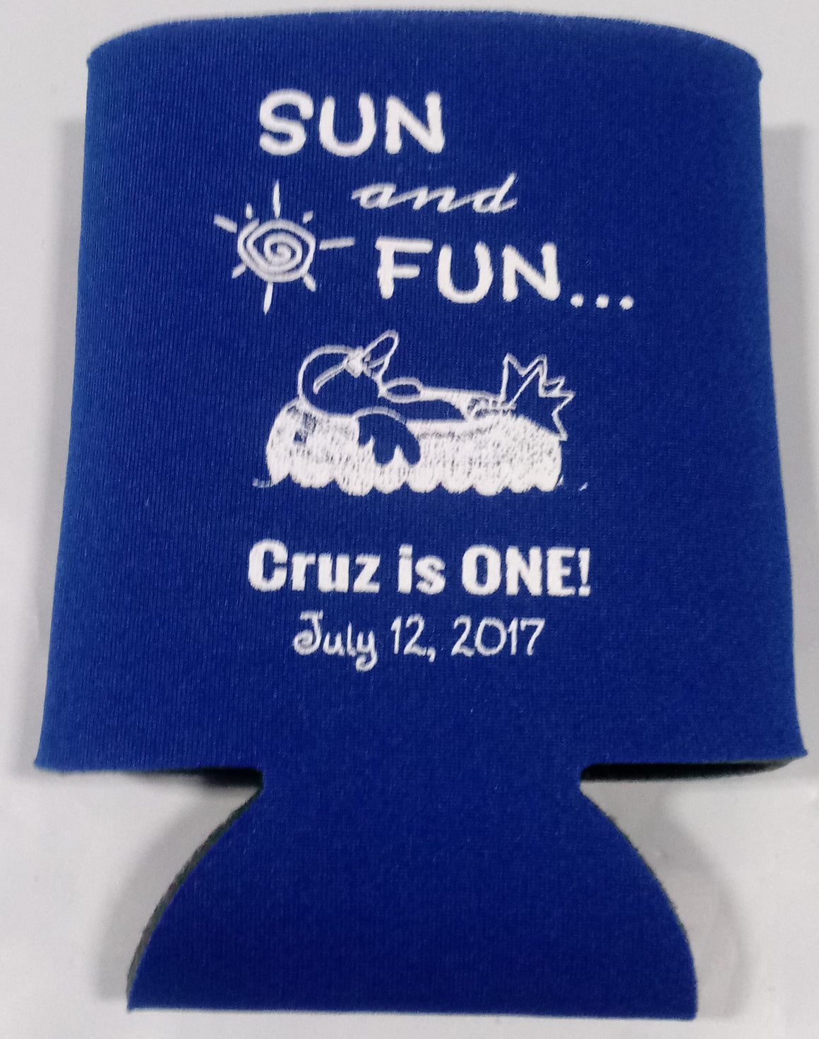 sun and fun Birthday Koozies 1st personalized can coolers 12915099-DS