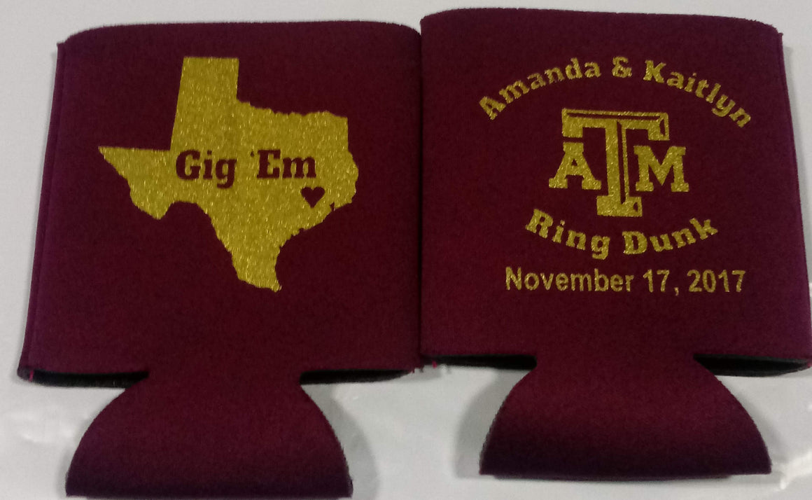 Texas A & M ring dunk party favors can coolers personalized