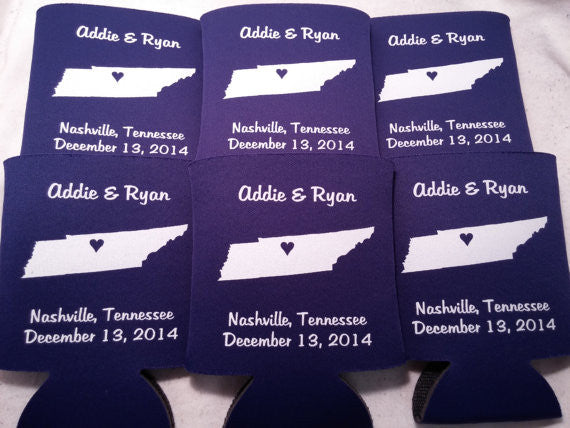 Tennessee Koozies custom personalized State Wedding Can Coolers