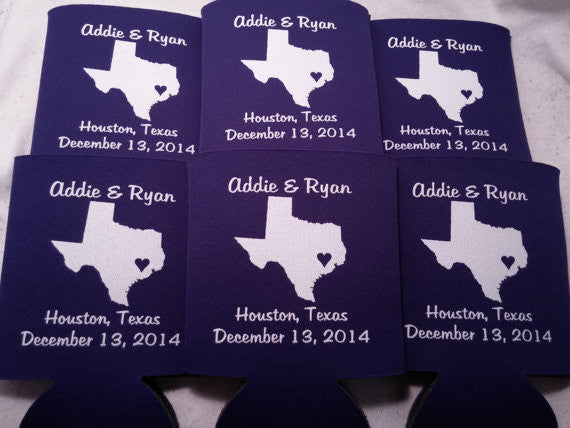 Texas Koozies custom personalized State Wedding Can Coolers
