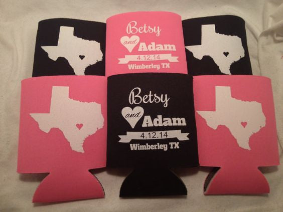 Custom Texas Wedding Koozies