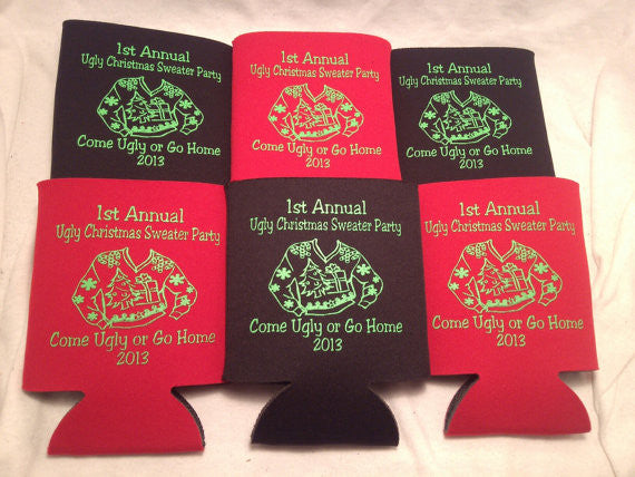 Ugly Tacky Christmas sweater party Koozies favors can coolers 1063359370