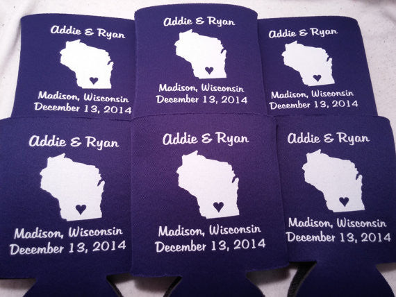 Wisconsin Koozies custom personalized State Wedding Can Coolers