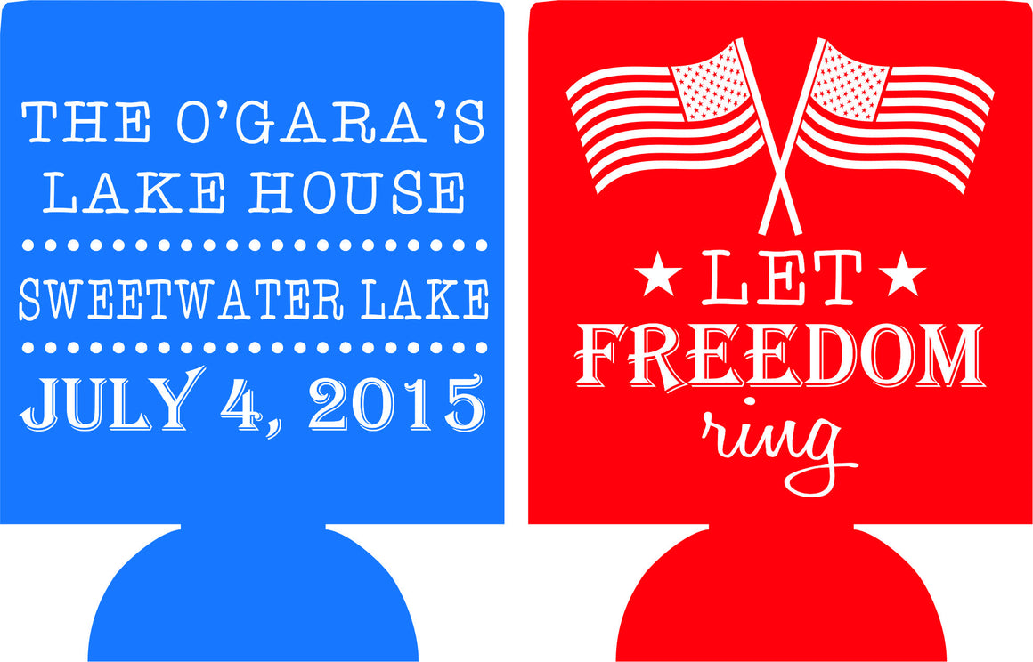 Lake House koozies 4th of july