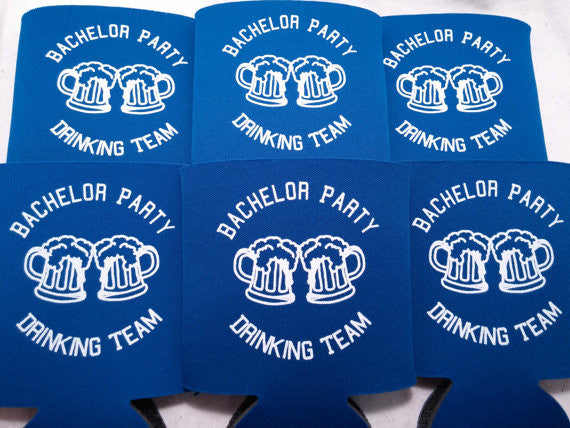 Bachelor Party Drinking Team can coolies custom favors