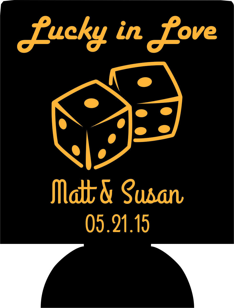 lucky in love wedding koozies clip art