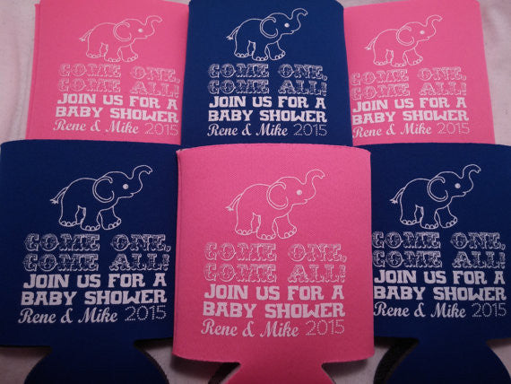elephant baby shower koozies party favors can coolers from
