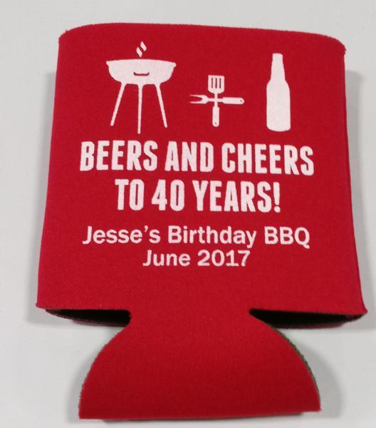 beers and cheers 40TH Birthday bbq Koozie can cooler