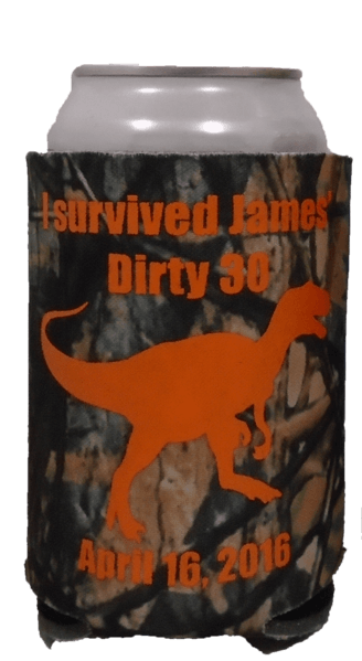 Dinosaur Dirty 30 Camo Birthday Koozies can coolers