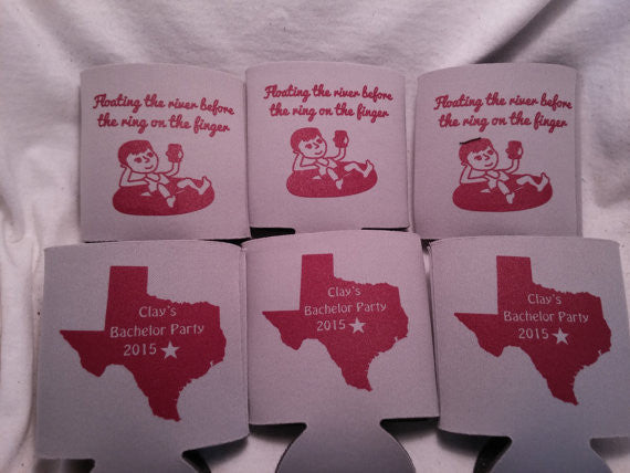 River Float Bachelor Party Tubin and boozin custom favors Can Coolers e04062015