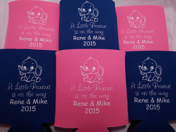 baby elephant shower koozies party favors