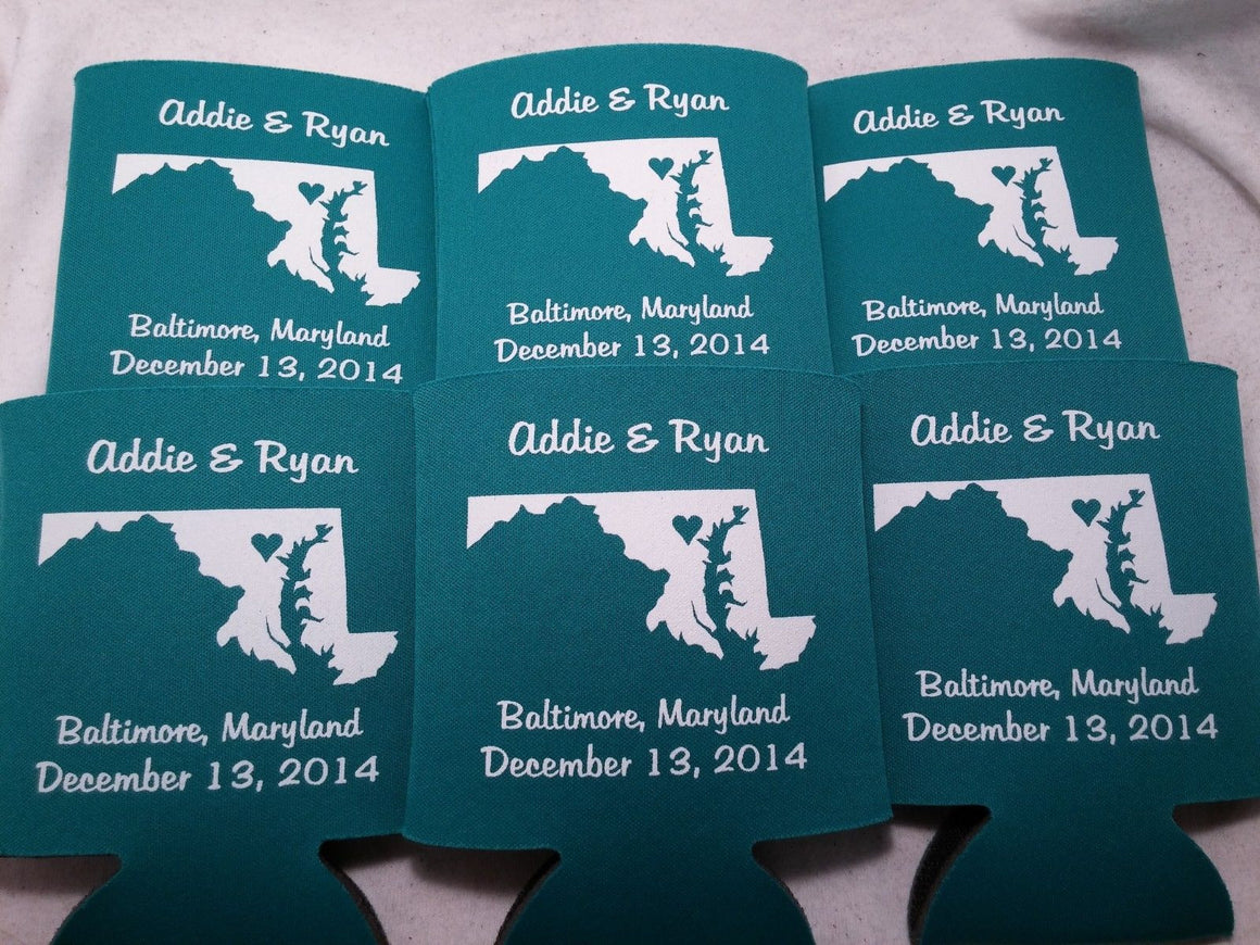 Maryland Koozies custom personalized State Wedding Can Coolers
