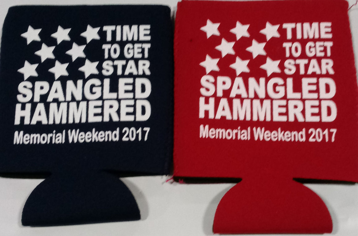 Memorial day weekend River Float koozie star spangled hammered