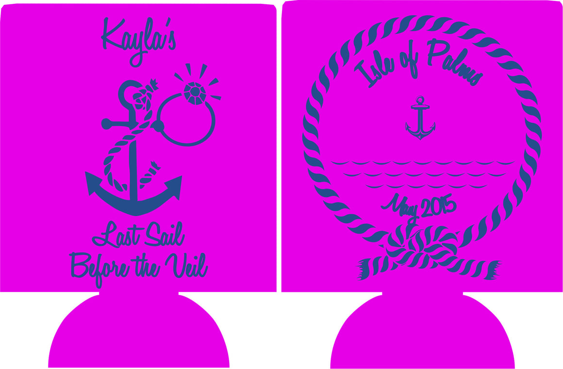 isle of palms bachelorette koozie last sail before the veil