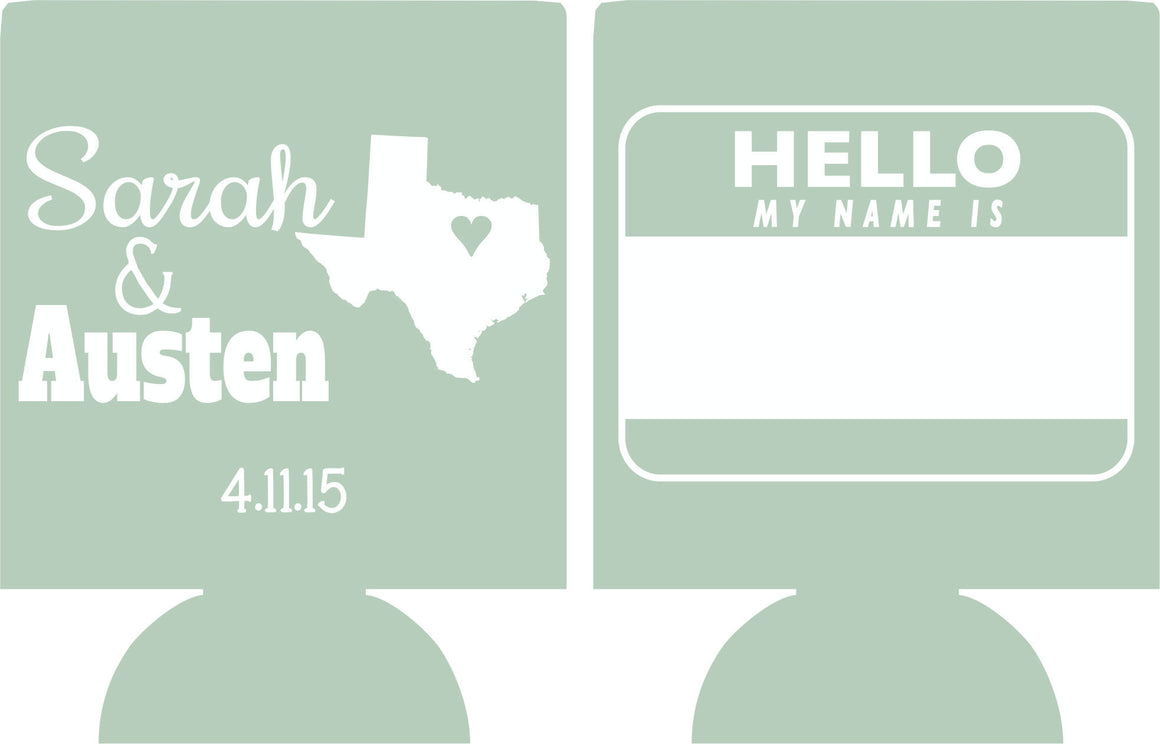 personalized Texas Wedding Koozie hello my name is favors Can Coolers