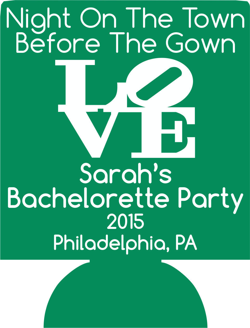 Philadelphia bachelorette koozie LOVE personalized
