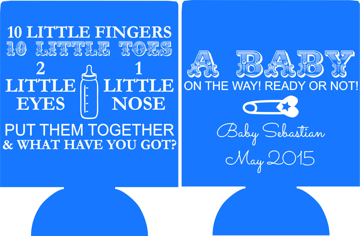 custom koozie baby shower 10 little toes