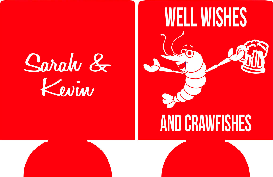 Well wishes and crawfishes Wedding Koozie Can Coolers