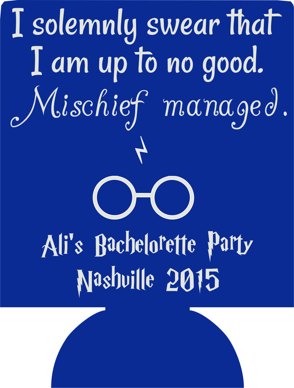Mischief managed Harry Potter bachelorette koozies personalized low minimums