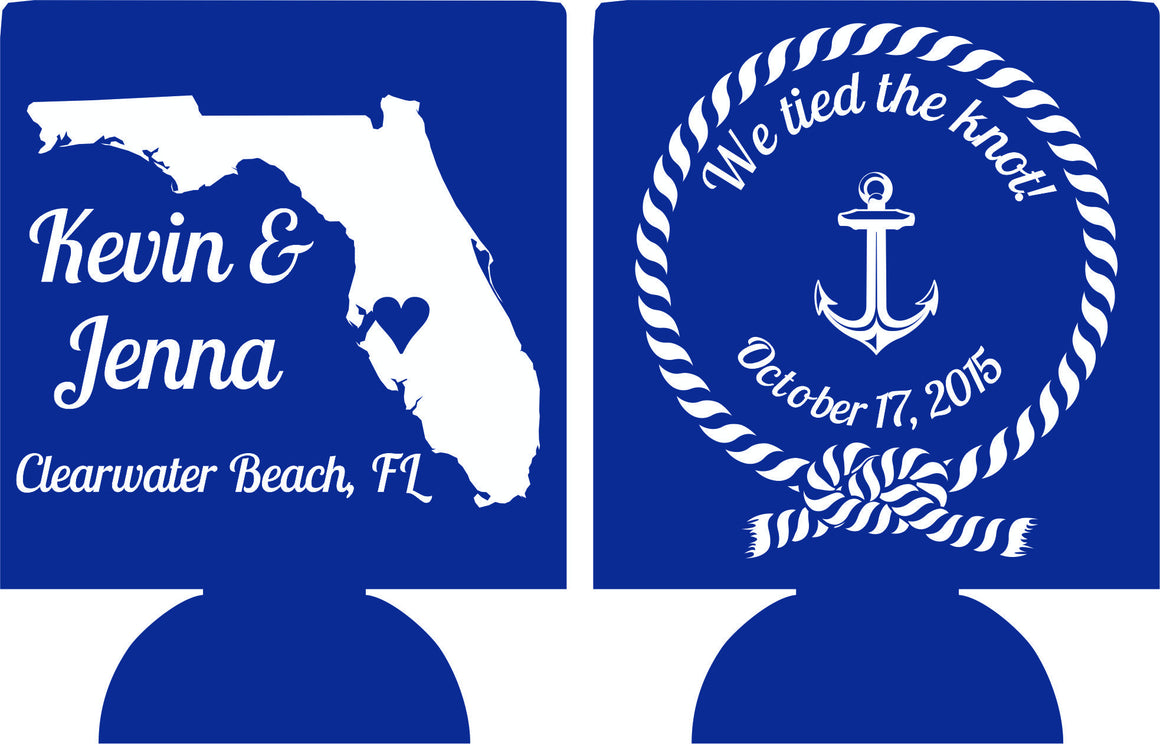 Nautical Florida State Wedding Koozie we tied the knot