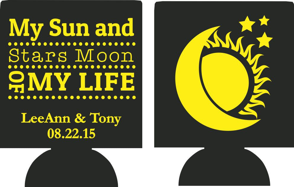 Moon of my Life Wedding koozie my sun and stars party favors