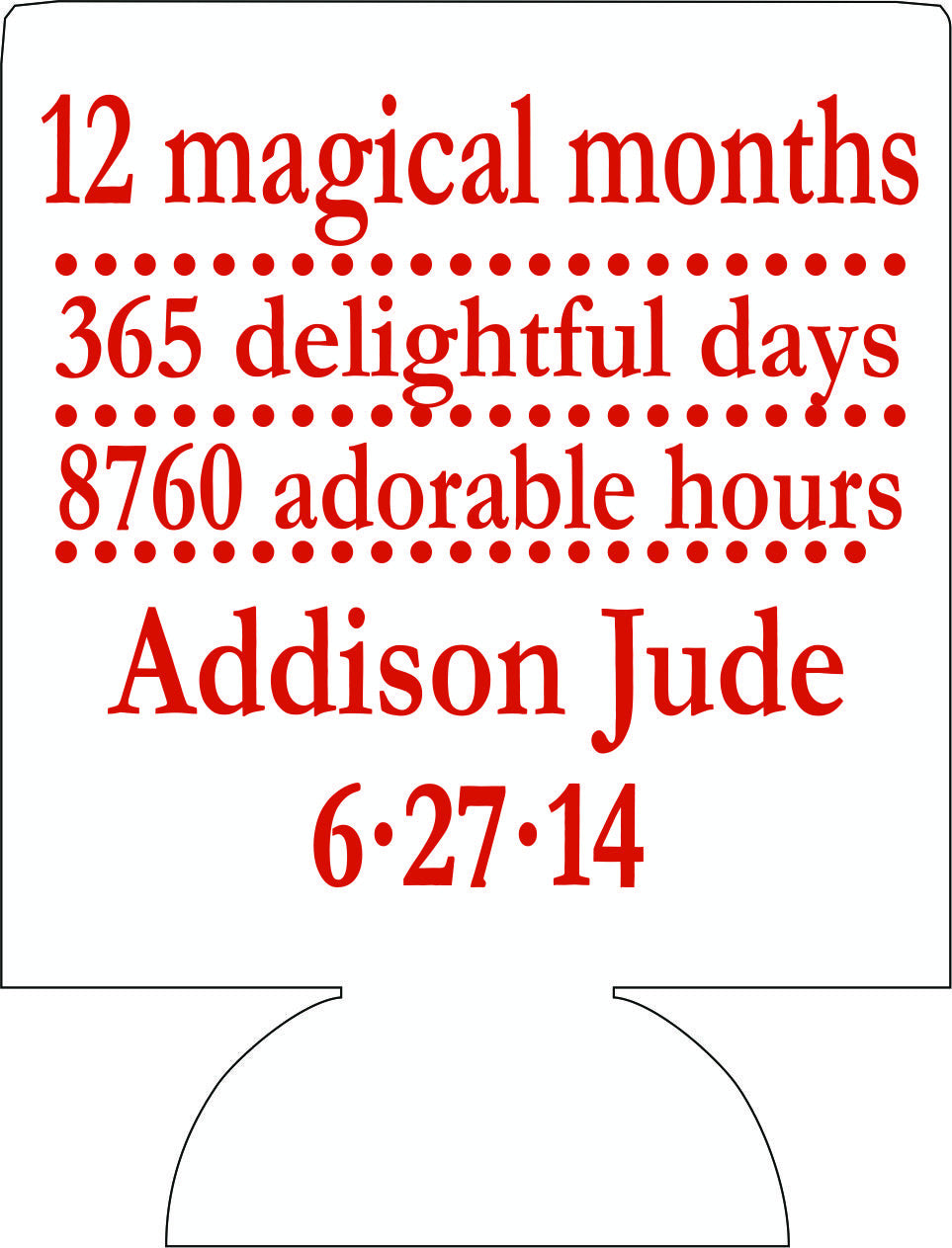 12 magical months wedding koozies Can Coolers