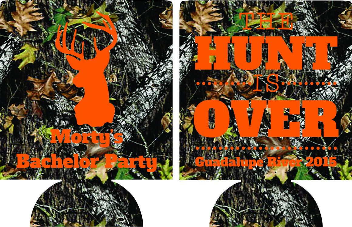 The Hunt is over Bachelor Party coozie