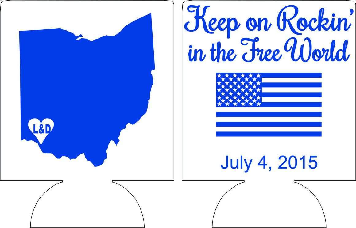 4th of July any state Wedding koozie party favors