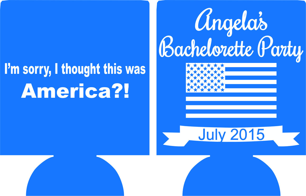 4th of july bachelorette Koozie can coolers