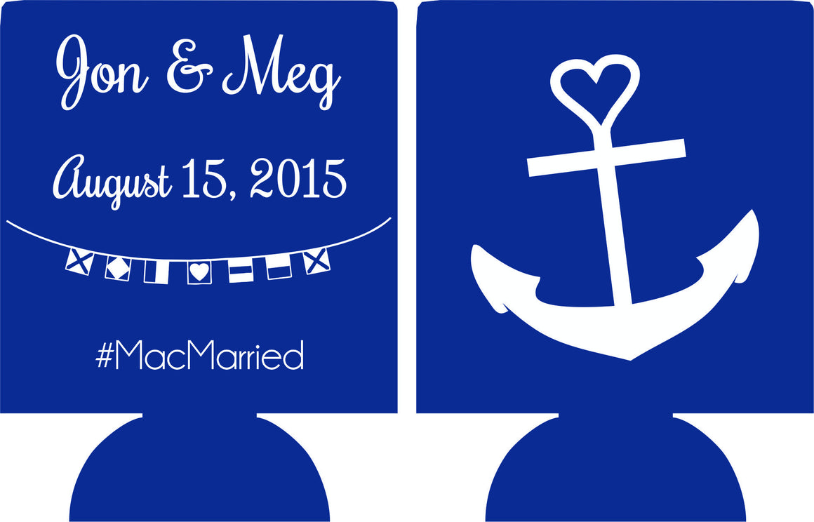 Nautical Wedding koozie heart anchor