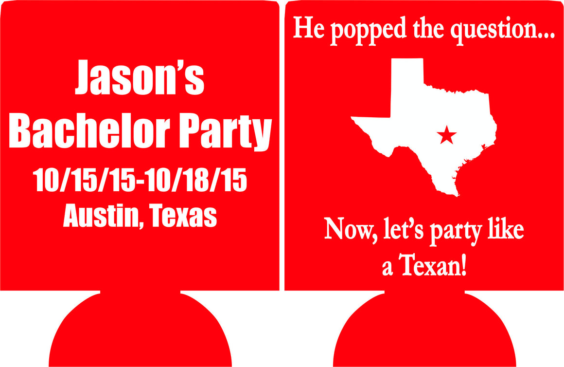 Austin Texas Bachelor Party Koozies custom can coolies