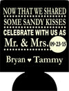 sandy kisses mr. and mrs. personalized Wedding koozie