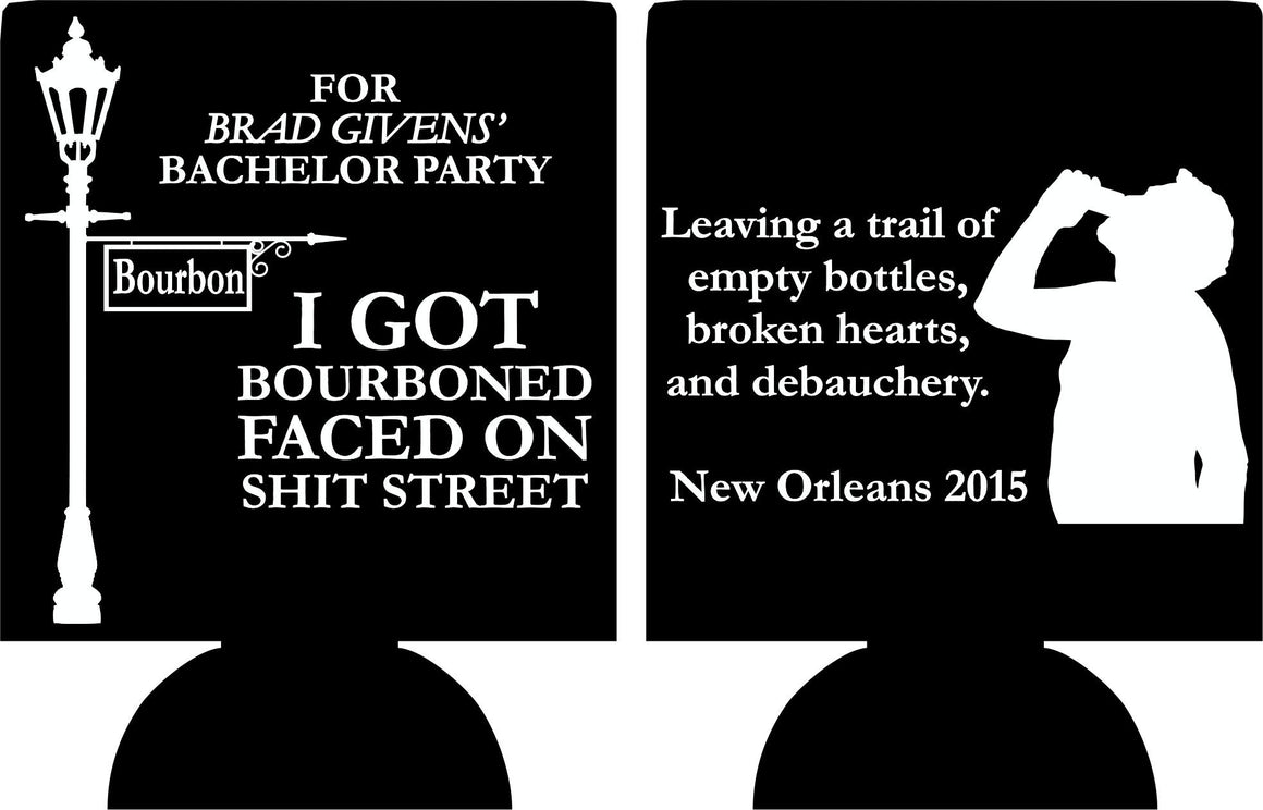 Bourbon Street Bachelor Party Koozies custom can coolies
